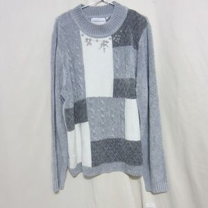 NWT Alfred Dunner, Silver/Gray/White Sweater/Beads